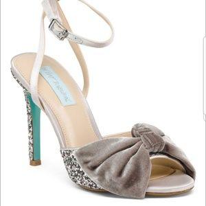 Betsey Johnson Silver Glitter Bow Strappy Heels